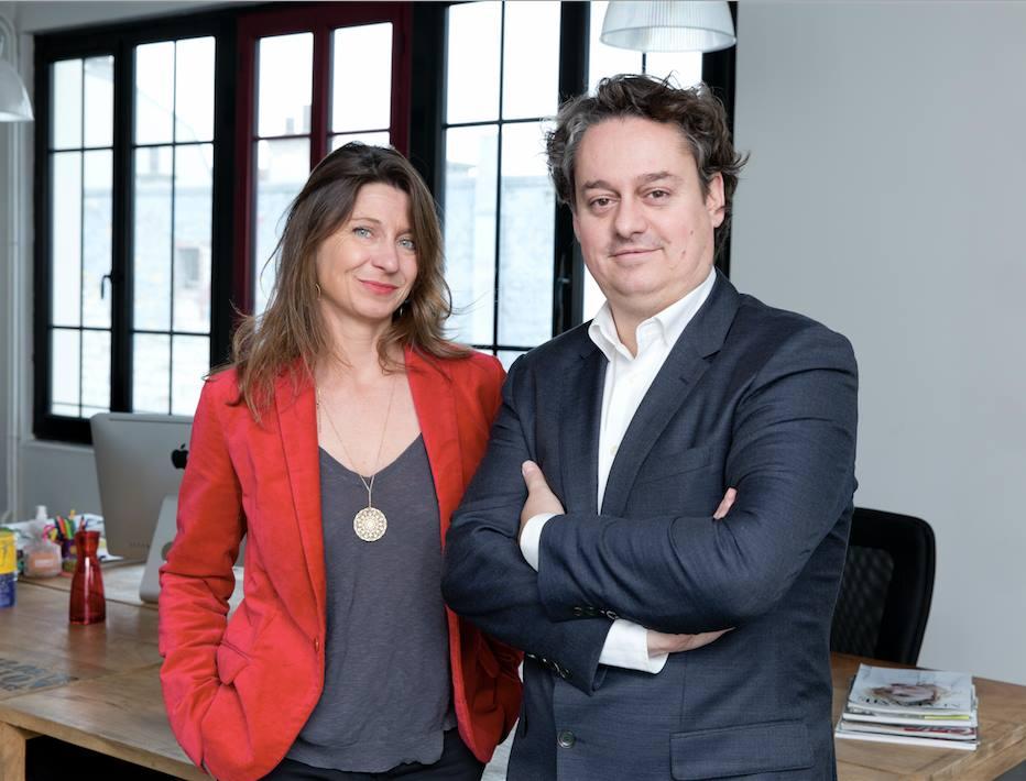 Nathalie Belloc et Nicolas Contassot dans leurs bureaux à Paris